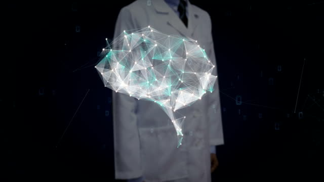 Doctor touching digital screen, Brain connect digital lines, expanding artificial intelligence. video