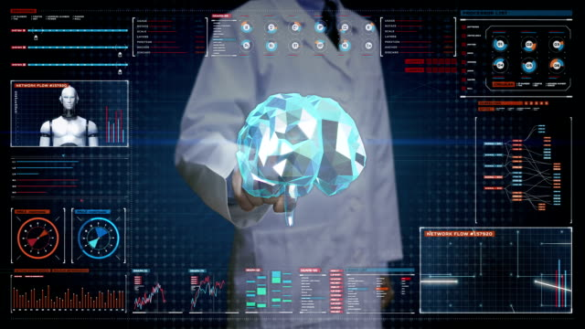 Doctor touching digital screen, Brain connect digital lines in digital display dashboard, expanding artificial intelligence video
