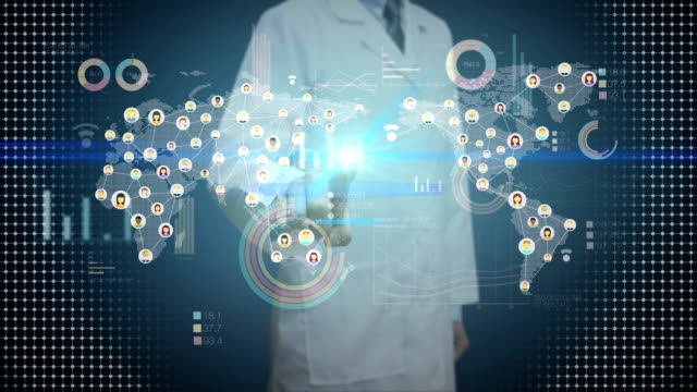 Doctor touching digital screen, connected people, using communication technology. with economic diagram,chart,graph. video