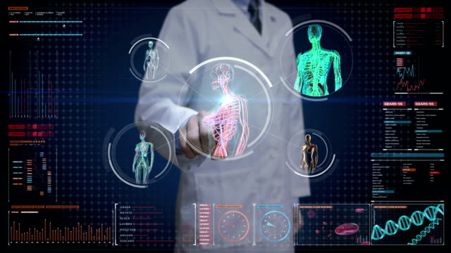 Doctor touching digital screen,  Female body scanning blood vessel, lymphatic, heart, circulatory system in digital display dashboard. Blue X-ray view. video