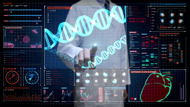 vídeos de stock e filmes b-roll de doctor touching digital screen, heredity.human dna, futuristic medical application. digital user interface. - veia humana