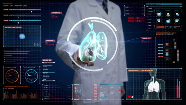 Doctor touching digital screen, Rotating Human lungs, Pulmonary Diagnostics. X-ray image. medical technology. video