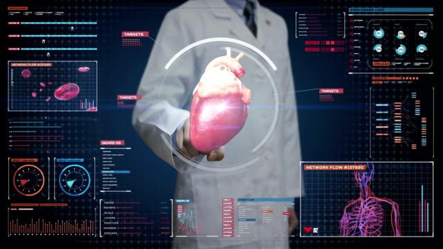 Doctor touching digital screen, scanning heart. Human cardiovascular system. medical technology. video