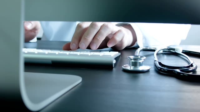Doctor type keyboard with stethoscope video