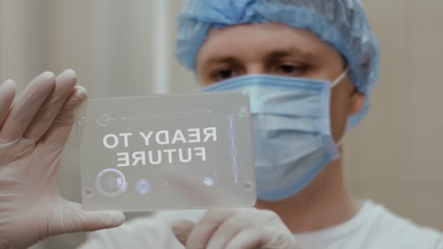 Doctor uses tablet with text Ready to future