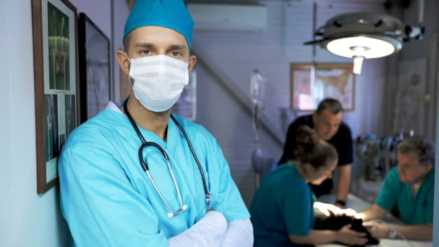 Doctor with surgical mask video