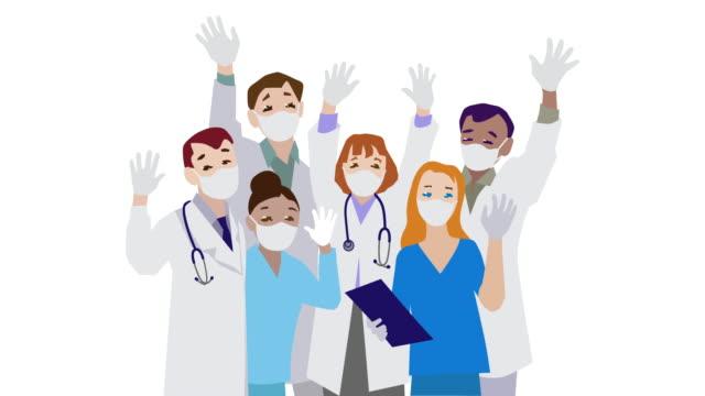 medici e infermieri squadra - illustrazione video stock e b–roll