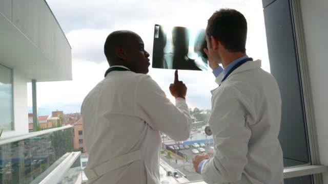 vídeos y material grabado en eventos de stock de médicos en una radiografía de la rodilla - columna vertebral humana