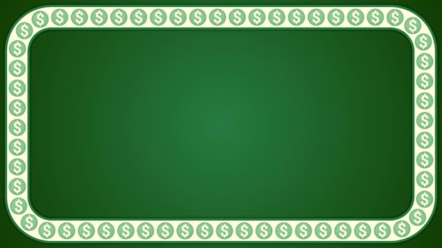 dollar amerikanisches geld grünen hintergrund rechteck frame - amerikanische geldmünze stock-videos und b-roll-filmmaterial