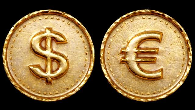 dollar und euro-münzen - euros cash stock-videos und b-roll-filmmaterial