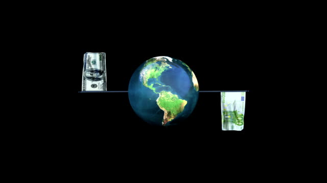 Dollar and Euro Flag Rotating Waving with Earth, Loop, Alpha video