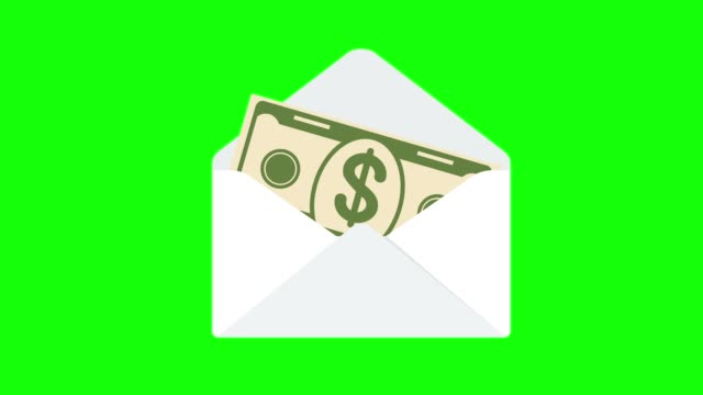 dollar sedel dyker upp ur öppningen kuvert. - kuvert bildbanksvideor och videomaterial från bakom kulisserna