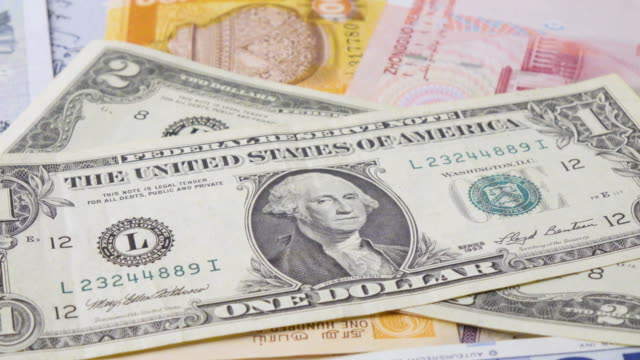 Dollar Banknote Turning 2 Clips In 1 Stock Footage Slow & Fast. video