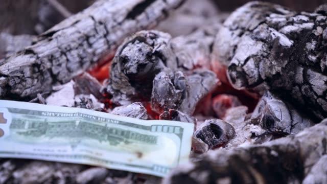 dollar-banknoten fallen auf schwarze glut und brennen. - inflation stock-videos und b-roll-filmmaterial