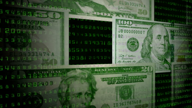vídeos y material grabado en eventos de stock de dólar facturas. circuito sin costura - prosperidad