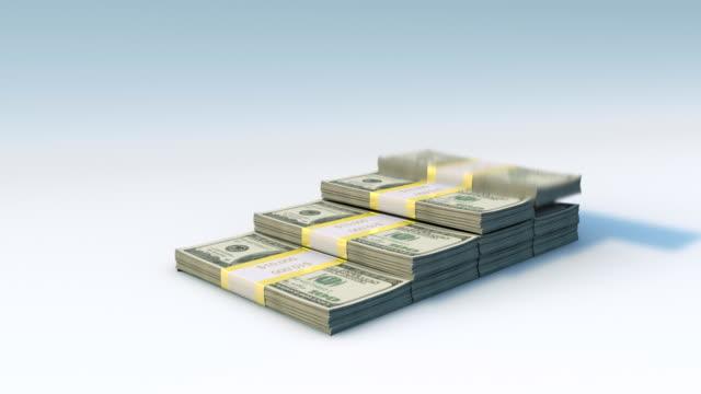 dollar bill bars falling, graph rising - reso video stock e b–roll