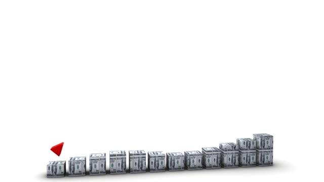 dollar-schein bar graph fallenden wachsender - inflation stock-videos und b-roll-filmmaterial