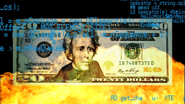 Dollar bill burned with fire