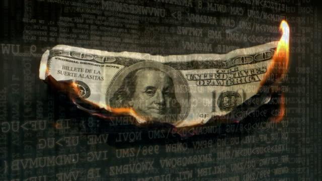 Dollar bill burning