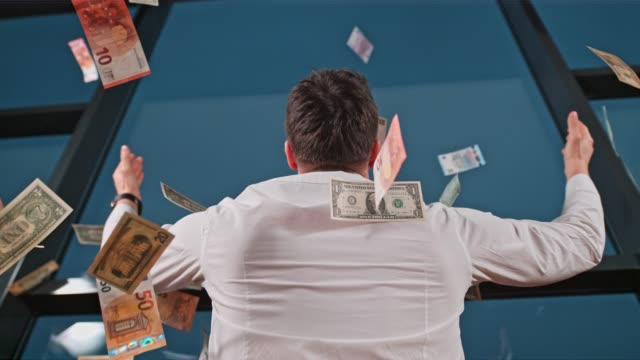 US dollar bills and Euro banknote falling over businessman at office window, super slow motion US dollar bills and Euro banknotes falling over businessman at office window. MS, tilt up, super slow motion. wealth stock videos & royalty-free footage