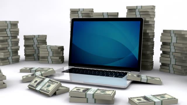 Dollarnoten und laptop/Geld verdienen online – Video
