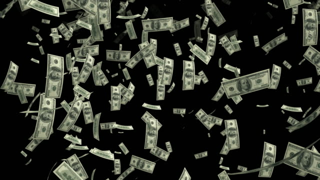 4K Dollar Bills Falling | Loopable video