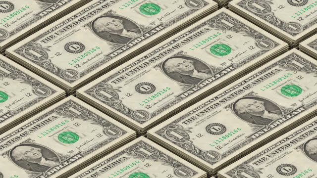 Dollar bills money background. Portrait of George Washington Printing money loop video