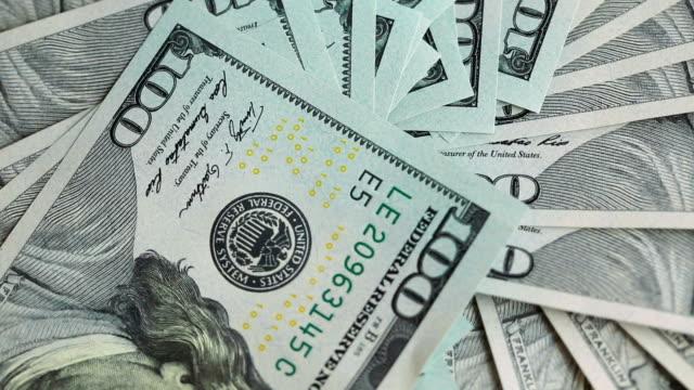 100 Dollar bills rotating video