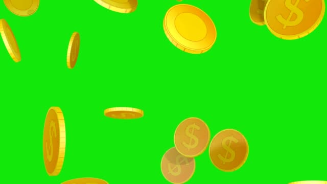 3D dollar coins rain Realistic 3D dollar coins falling from top to bottom on green background coin stock videos & royalty-free footage