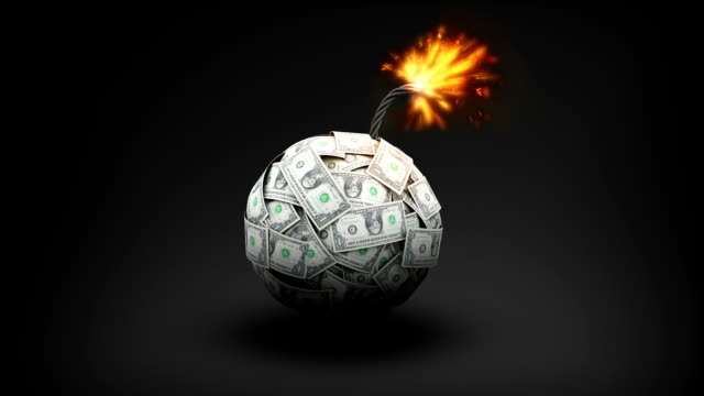 dollar currency makes bomb, explode bomb. - потеря стоковые видео и кадры b-roll