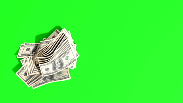 dollar hundred bills banknotes blows away from the pile 3d render green screen