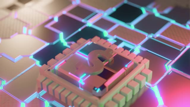 Dollar icon circuit board animation background