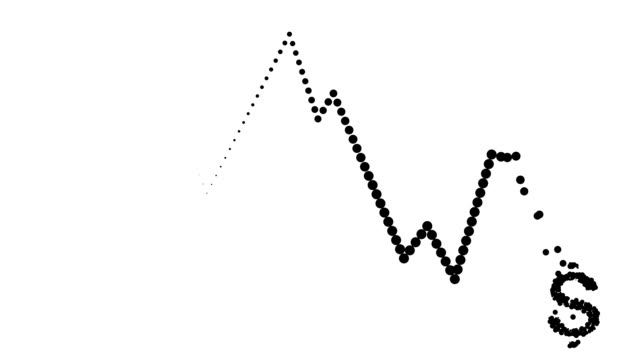 CONSTANT TREND CHART - dollar icon, pure black dots (LOOP) video