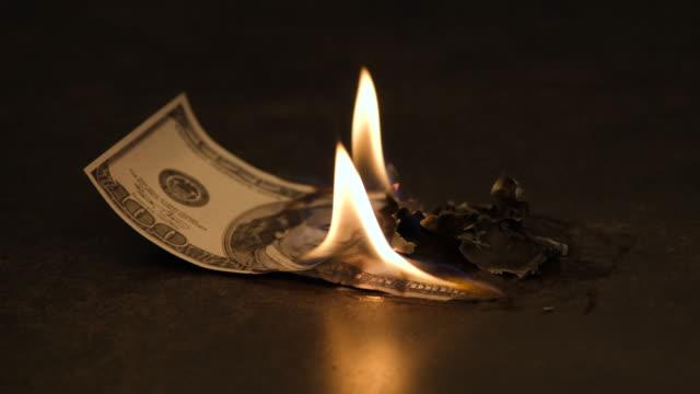 US Dollar in fire
