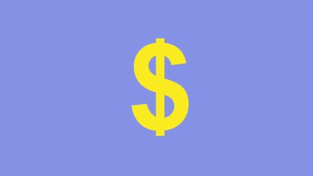 geld dollarsymbol hell auf lila hintergrund symbol vektor illustration - dollarsymbol stock-videos und b-roll-filmmaterial