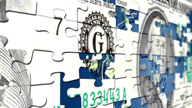 dollar puzzle concept - avidità video stock e b–roll