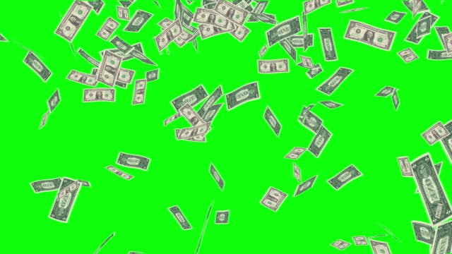 dollar rain falling from sky green screen effect