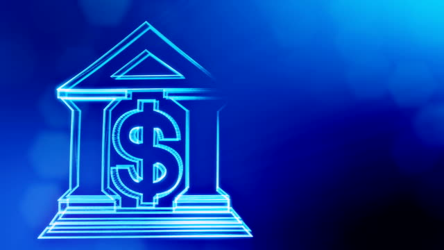 dollar sign and emblem of a bank. Finance background of luminous particles. 3D loop animation with depth of field, bokeh and copy space for your text. Blue v6