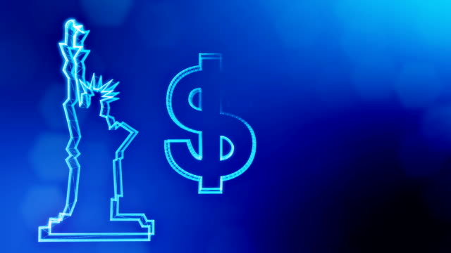 dollar sign and emblem of The Statue of Liberty. Finance background of luminous particles. 3D loop animation with depth of field, bokeh and copy space for your text. Blue v6
