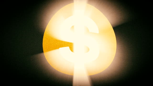 Dollar sign flag waving seamless loop with sun light rays new quality unique animated dynamic motion joyful colorful cool background video footage video