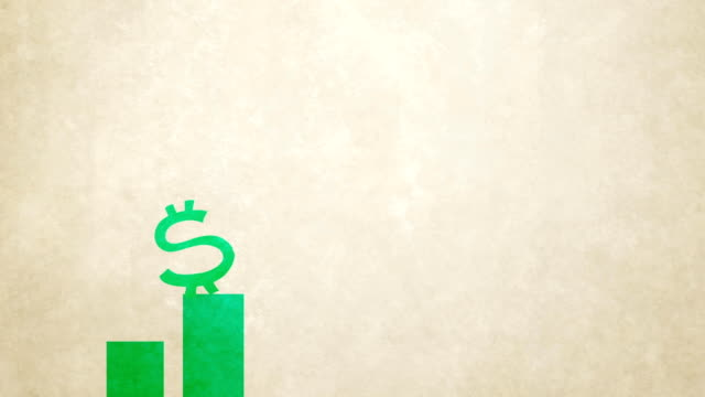 dollar sign jump up on stock market chart bars alpha channel version new quality unique cutout cartoon animation dynamic joyful video footage - risparmi video stock e b–roll