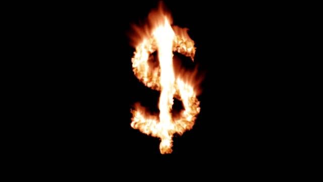 Dollar sign money hot text brand branding iron metal flaming heat flames 4K