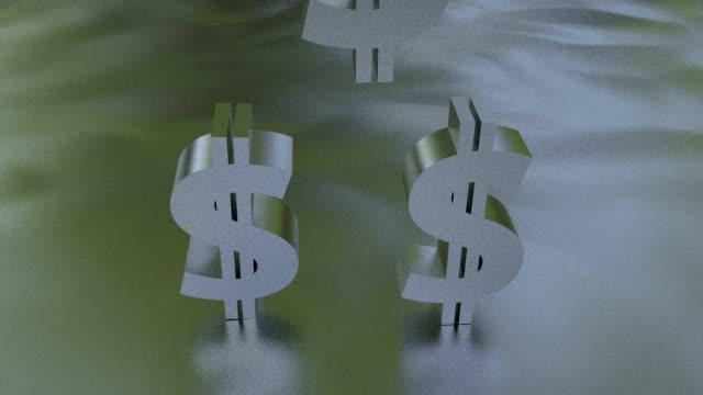 Dollar Symbols Falling onto Floor, Slow Motion Video video