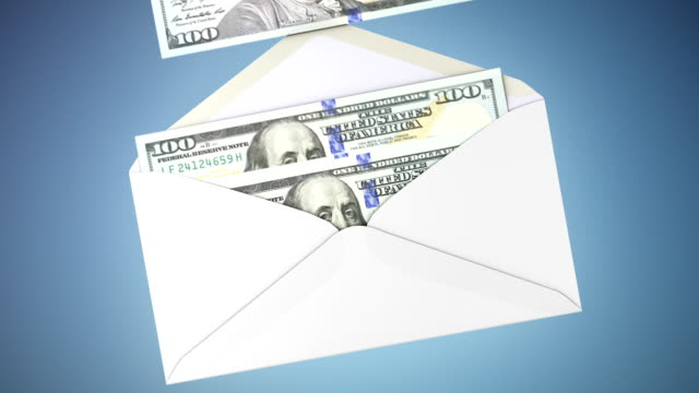 US dollar transfer inside envelope animation. video