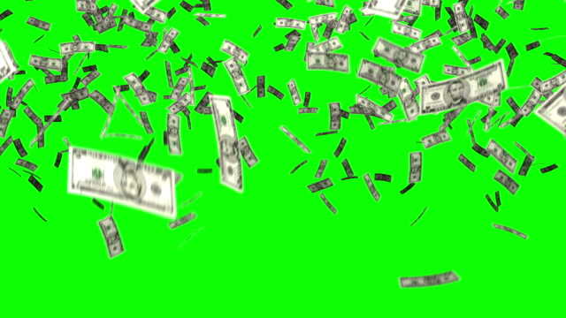 dollars bills falling chroma key Hundreds of five dollar bills fall from the sky and gradually fill up the screen. The file has a chroma key background making it easy to use over other footage or as a transition. paper currency stock videos & royalty-free footage