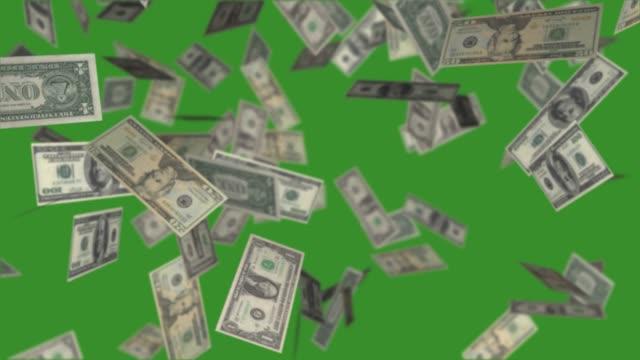 달러 지폐는 녹색 배경에 떨어지는, 돈 비와 비디오 애니메이션. - 통화 스톡 비디오 및 b-롤 화면