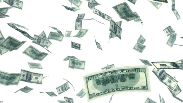 Dollars falling in looped animation. Alpha mask. HD 1080. video