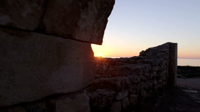 Dolly: Ancient Ruins of Tauric Chersonese at Sunset video