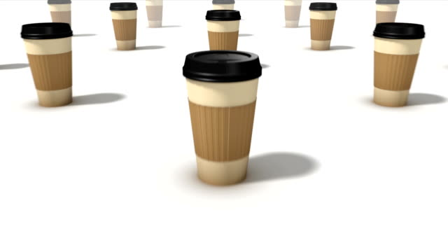 Dolly back diagonally from single Coffee Cup revealing many Cups video