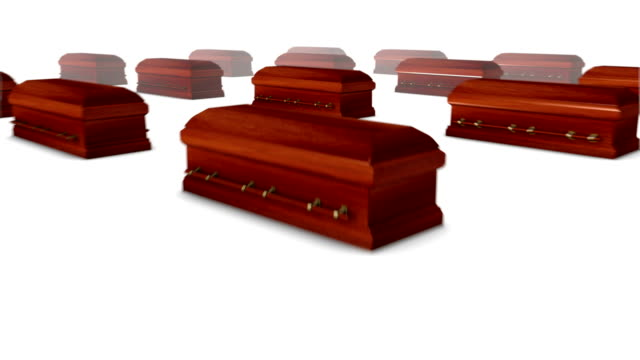 Dolly back diagonally from single Coffin revealing many Coffins video